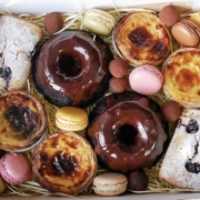 afternoon tea box of cakes, chocolate, lemon, macarons and truffles